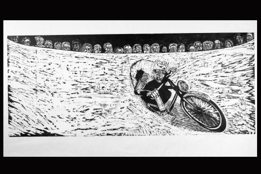 "King of the Wonder Wall, 60"" X 25"",  wood block print by Claudio Orso-Giacone"