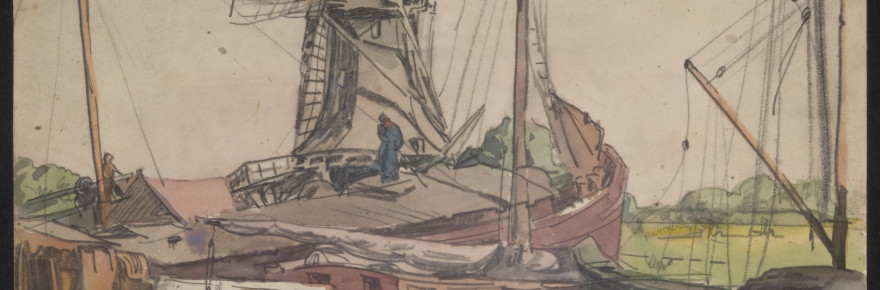 "Frank Wilcox, ""Shipping, Dordrecht, 1914,"" pencil and watercolor on paper. Gift of Henry Adams to ARTneo, in honor of Joan Brickley."